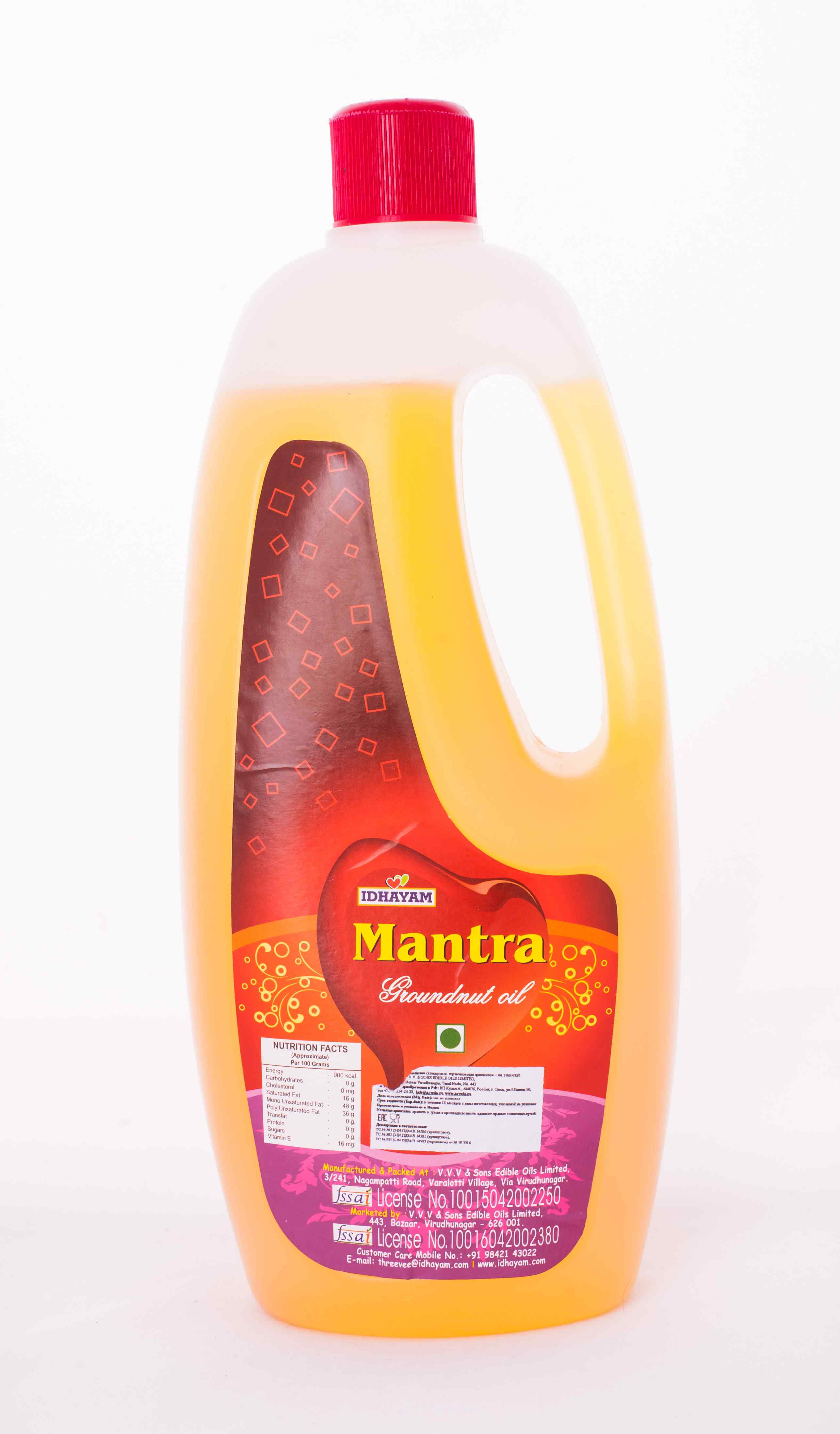Арахисовое масло Мантра 1 л/Idhayam Mantra Peanut Cooking Oil 1 Litre